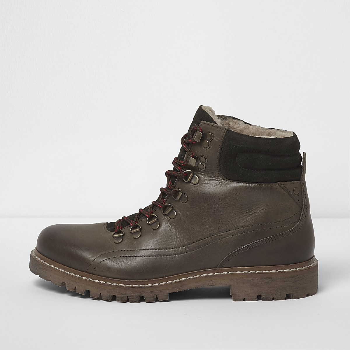 Dark green borg lined lace-up hiker boots