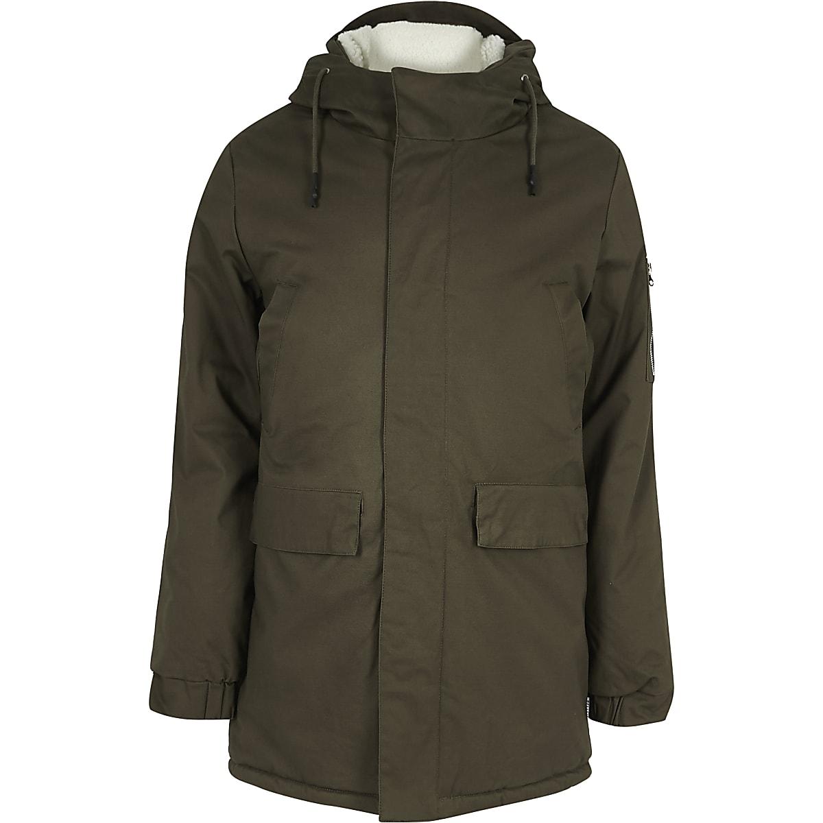 Khaki borg lined hooded coat