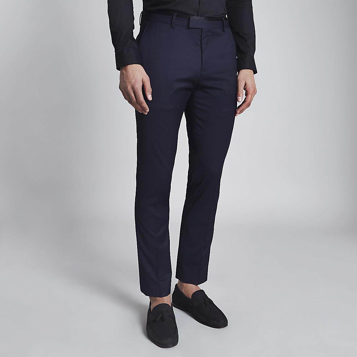 Navy skinny tuxedo trousers