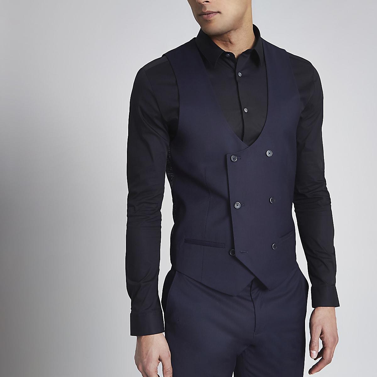 Navy double breasted tuxedo waistcoat