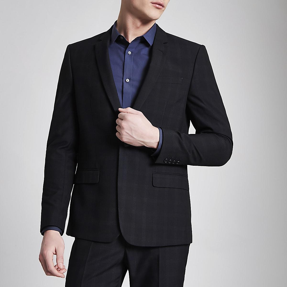 Navy check print skinny fit suit jacket