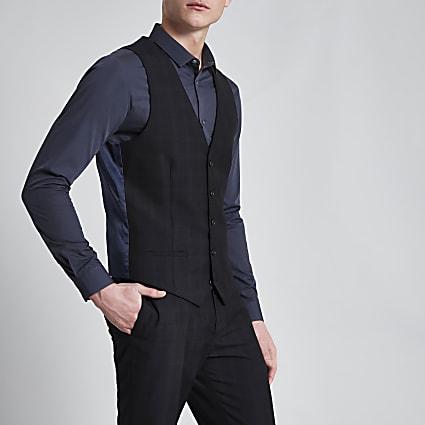 Navy check print smart suit waistcoat