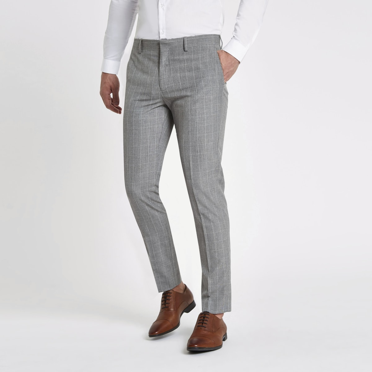 Grey check skinny fit suit pants