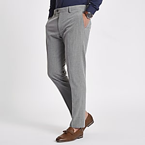 Grey stripe skinny fit suit pants