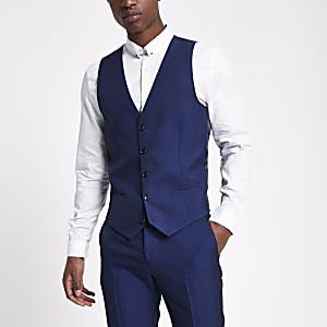 Bright blue suit waistcoat