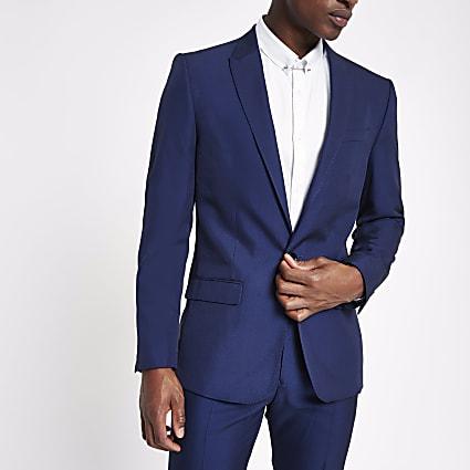Bright blue slim fit suit jacket