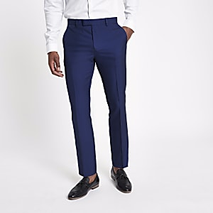 43418df1b08 Bright blue slim fit suit trousers