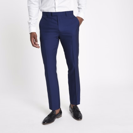 Bright blue slim fit suit trousers