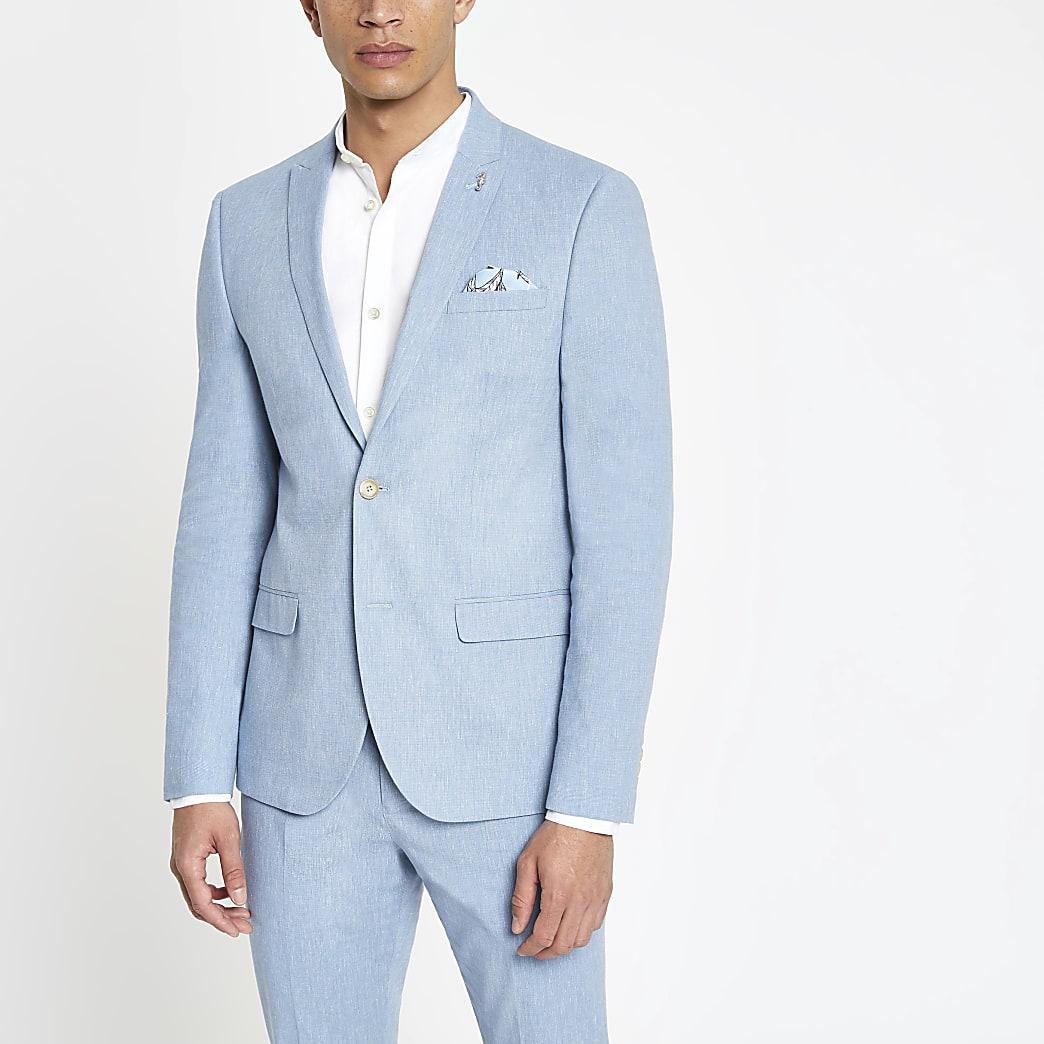 Lichtblauw skinny-fit colbert met linnen