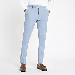 Pantalon de costume skinny en lin bleu clair