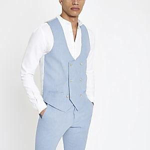 Light blue linen waistcoat