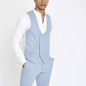 Light blue linen vest