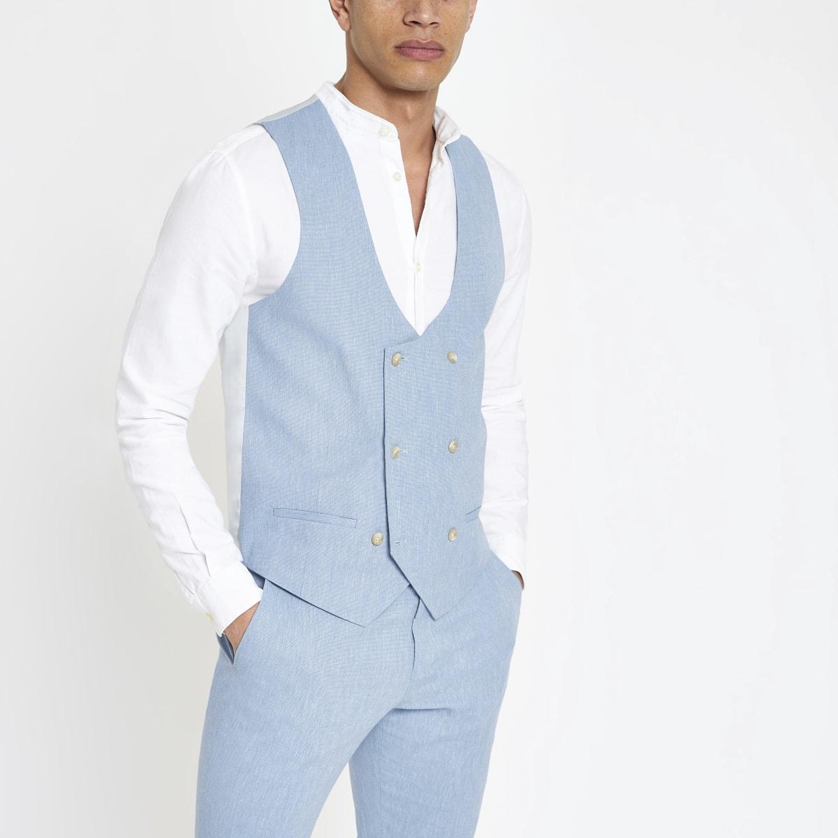 Lichtblauw linnen gilet
