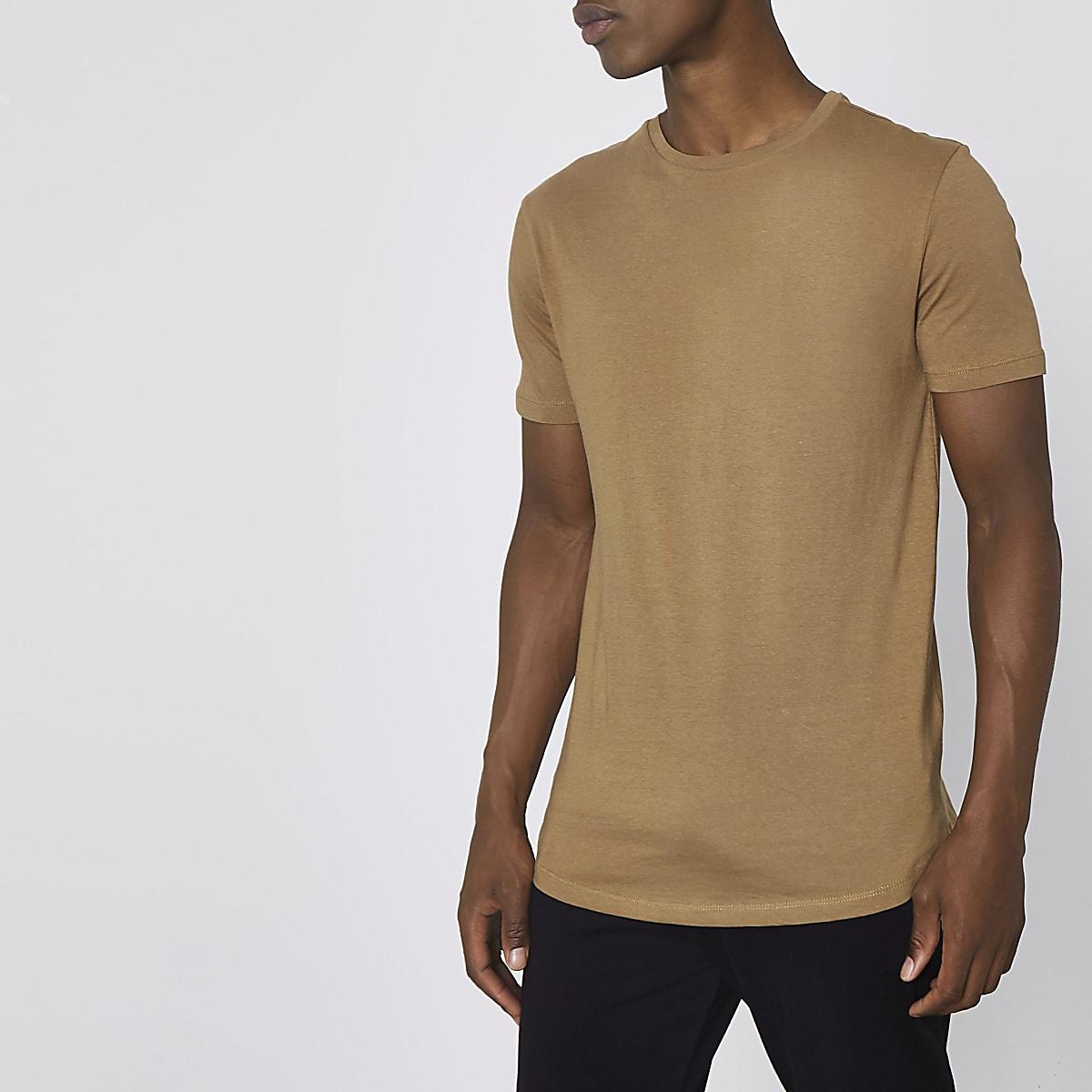 Bruin lang T-shirt met ronde zoom