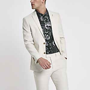 Cream linen blend slim fit suit jacket