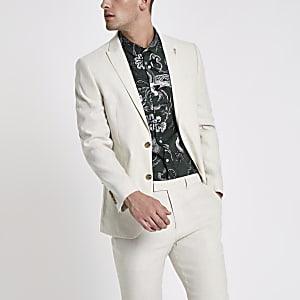 Veste de costume slim en lin mélangé crème