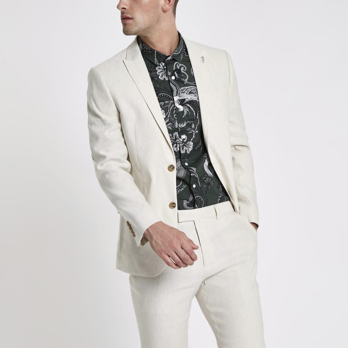Cream linen blend slim fit suit jacket