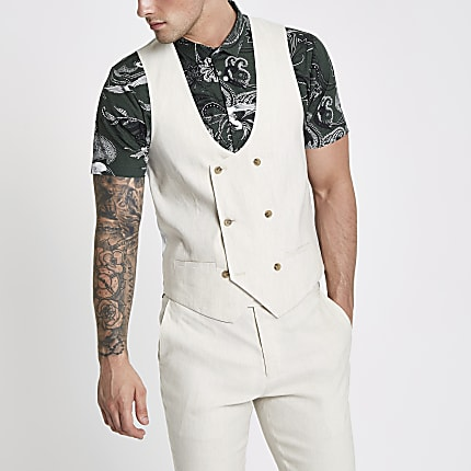 Double Cream Breasted Waistcoat Linen Blend 4R5qL3Aj