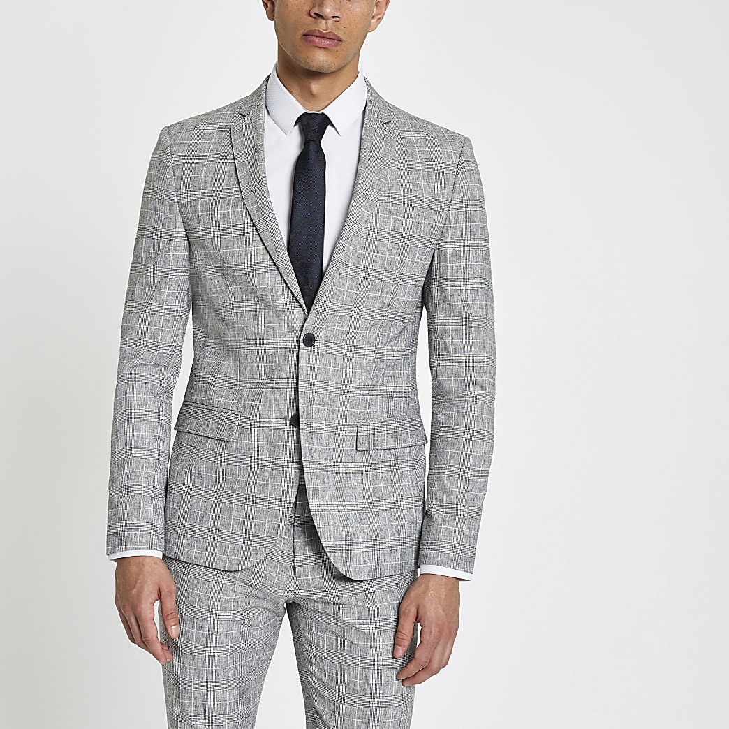 Light grey check skinny fit suit jacket