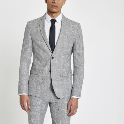 Light grey check skinny fit suit jacket