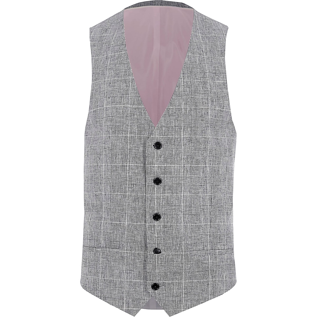 53aaa406 Light grey textured check suit waistcoat - Waistcoats - Suits - men