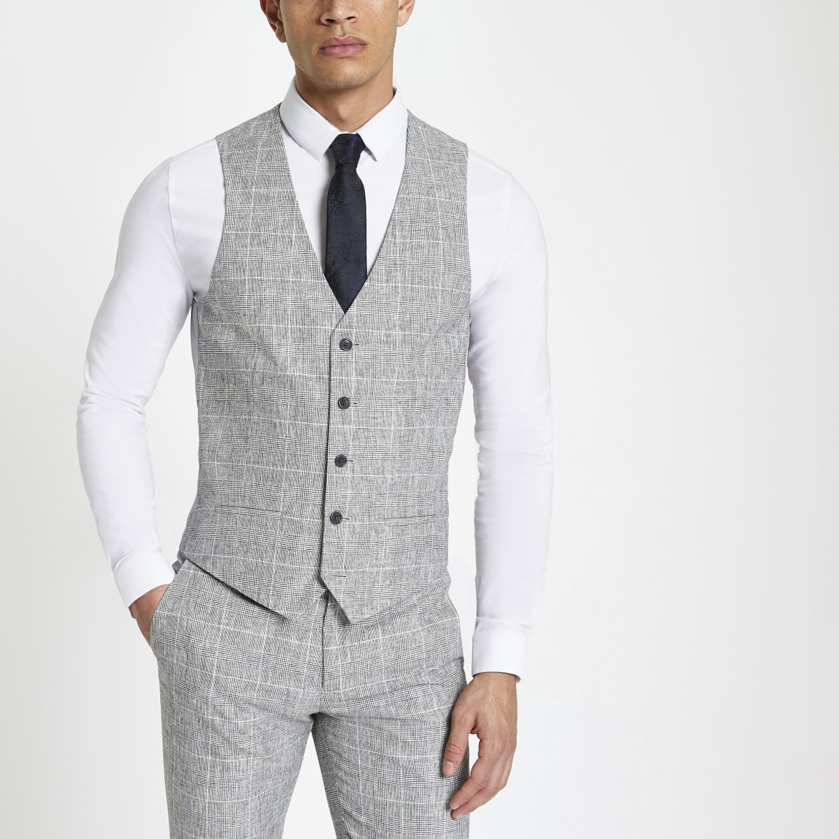 Light grey textured check suit vest