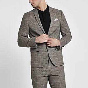 Brown check skinny suit jacket