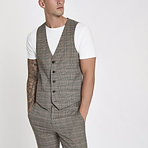 Brown and pink check suit waistcoat