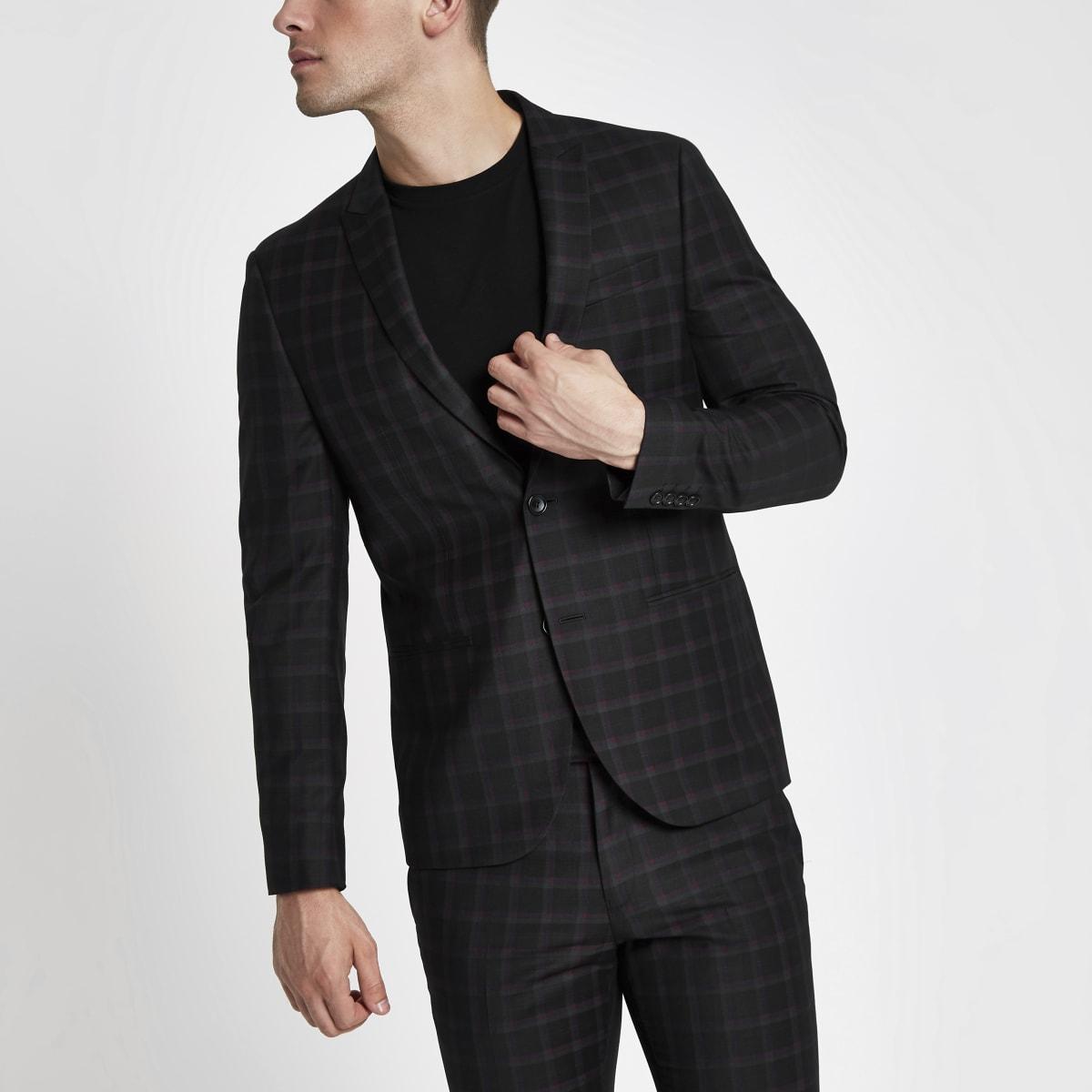 Schwarze, karierte Skinny Fit Anzugsjacke