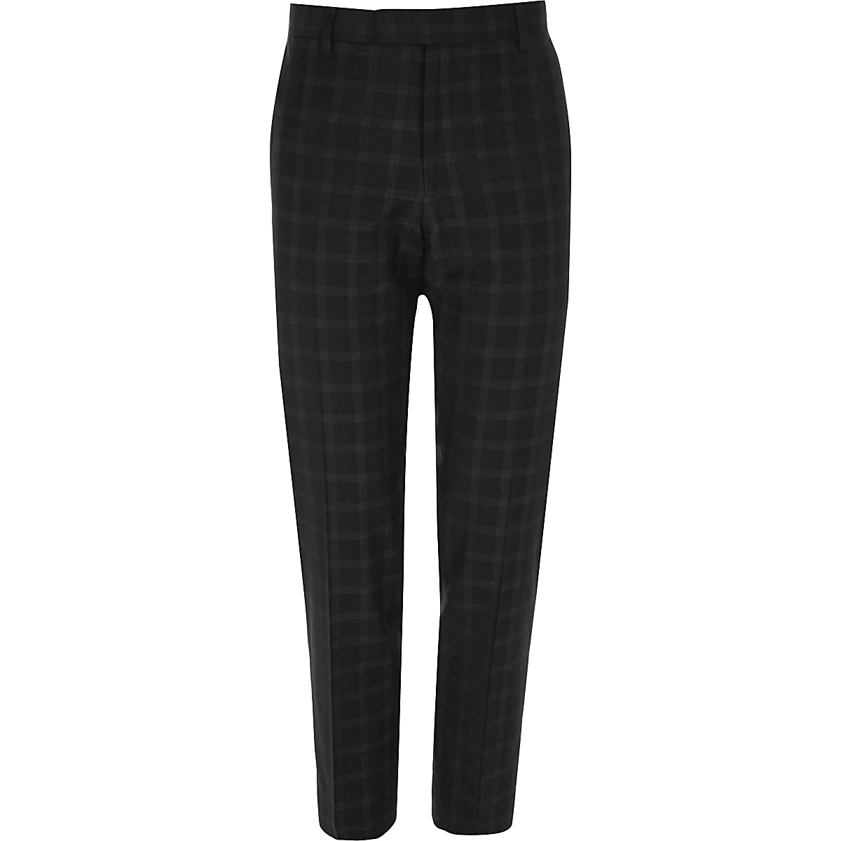 bbdb7746a448 Black and burgundy check skinny suit trousers - Suit Trousers ...