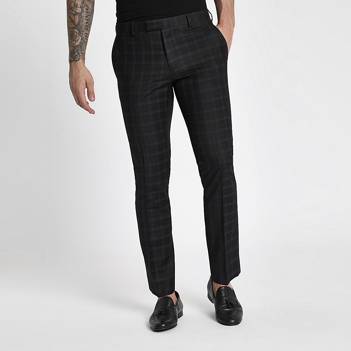 Black and burgundy check skinny suit pants