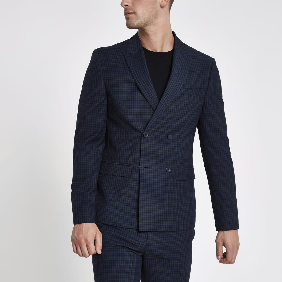 Blue check double breasted skinny suit jacket