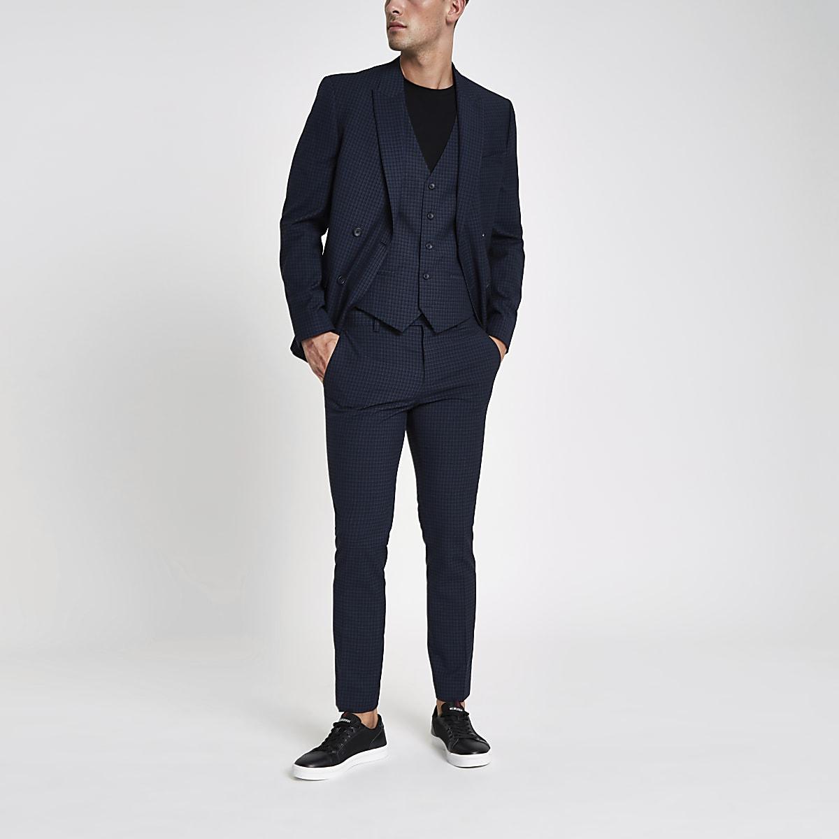 Blue check skinny fit suit pants