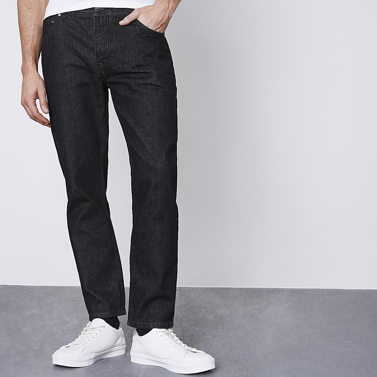 Black Jimmy tapered jeans