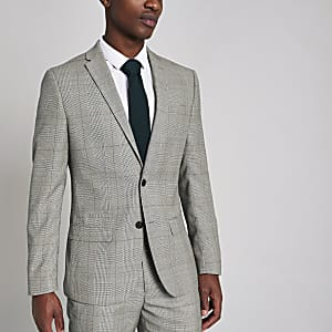 Grey check slim fit suit jacket