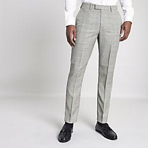 Pantalon de costume slim à carreaux gris