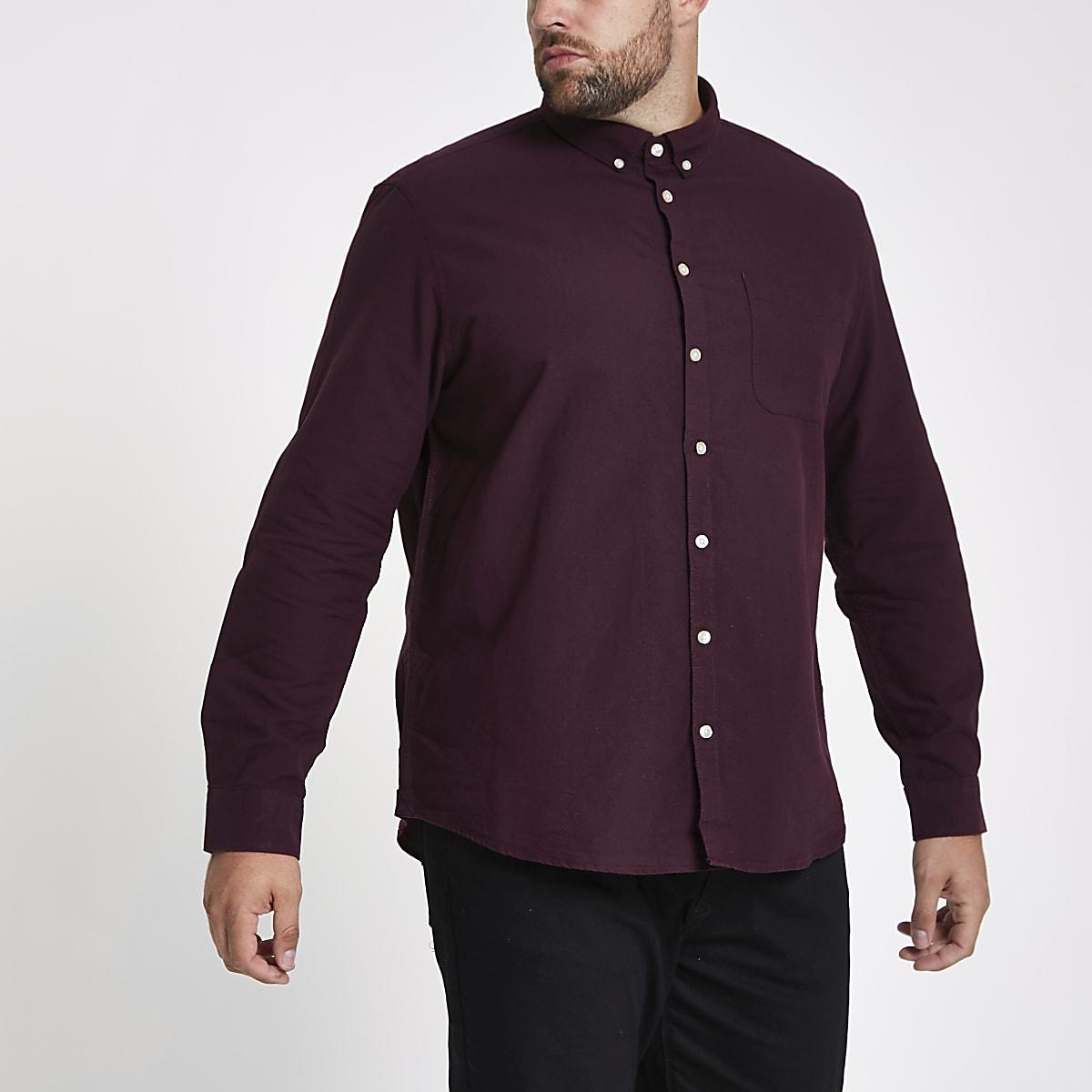 Big and Tall - Bordeauxrood overhemd met lange mouwen