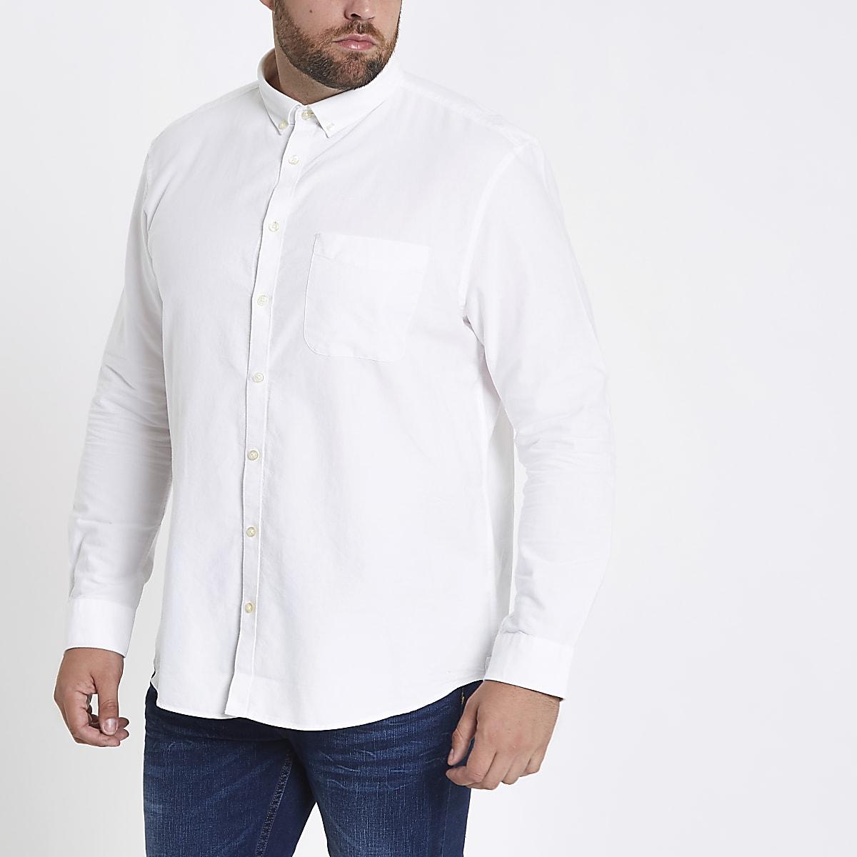 Big & Tall – Weißes, langärmeliges Oxford Hemd