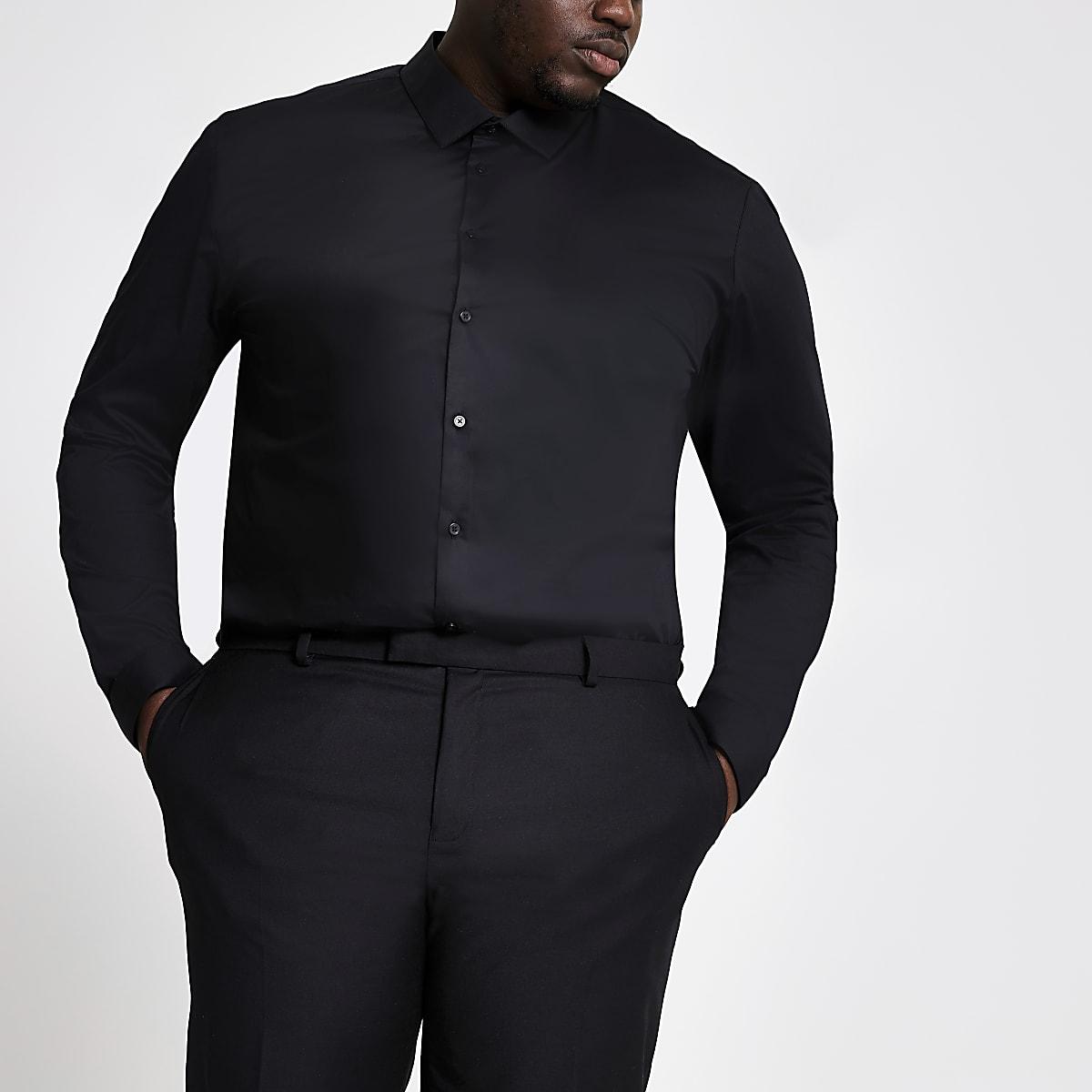 Big & Tall – Schwarzes Langarmhemd