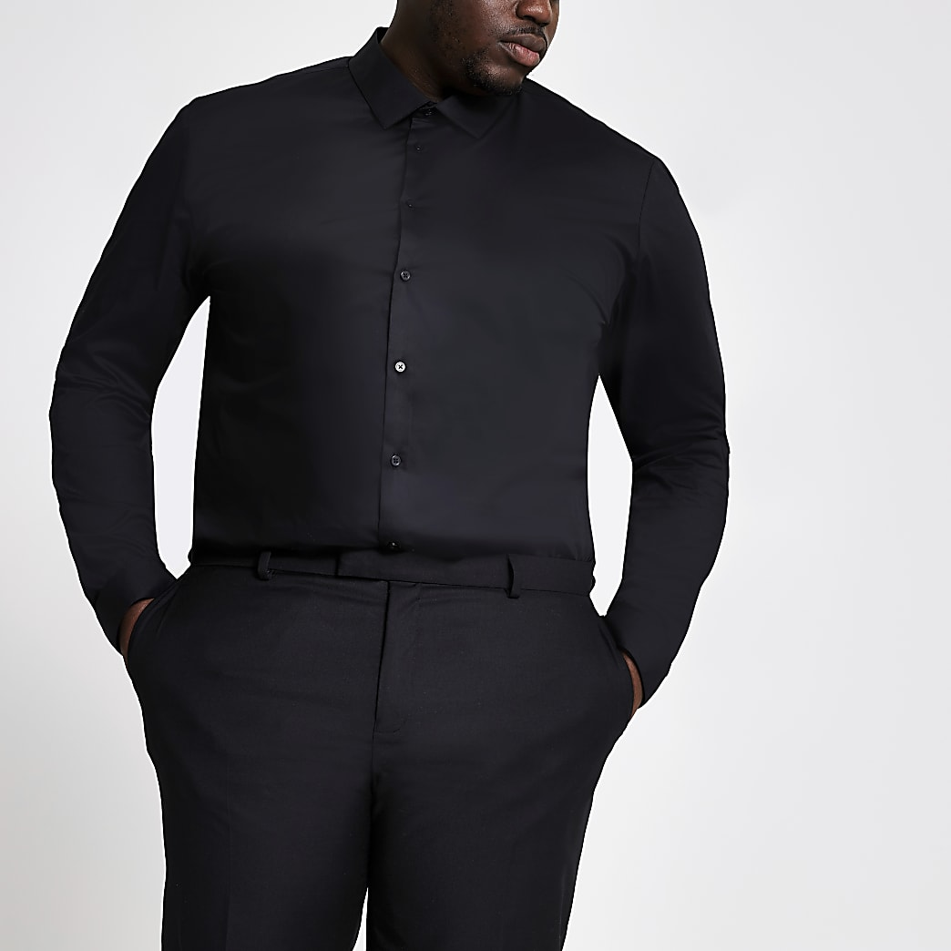 Big and Tall - Chemise noire à manches longues