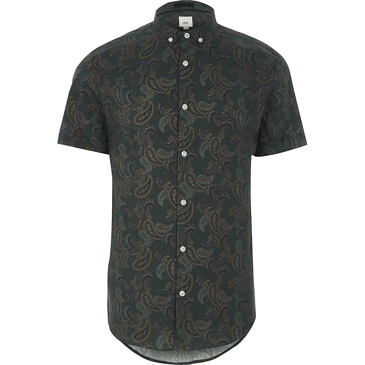 Green paisley print short sleeve shirt