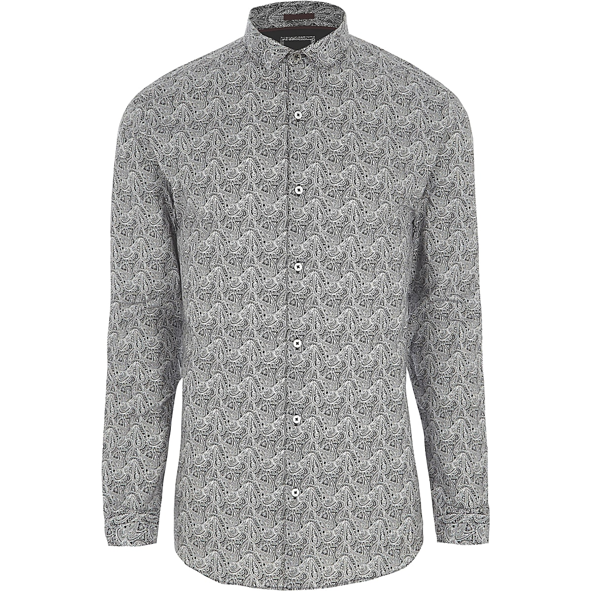 Grey paisley print muscle fit shirt