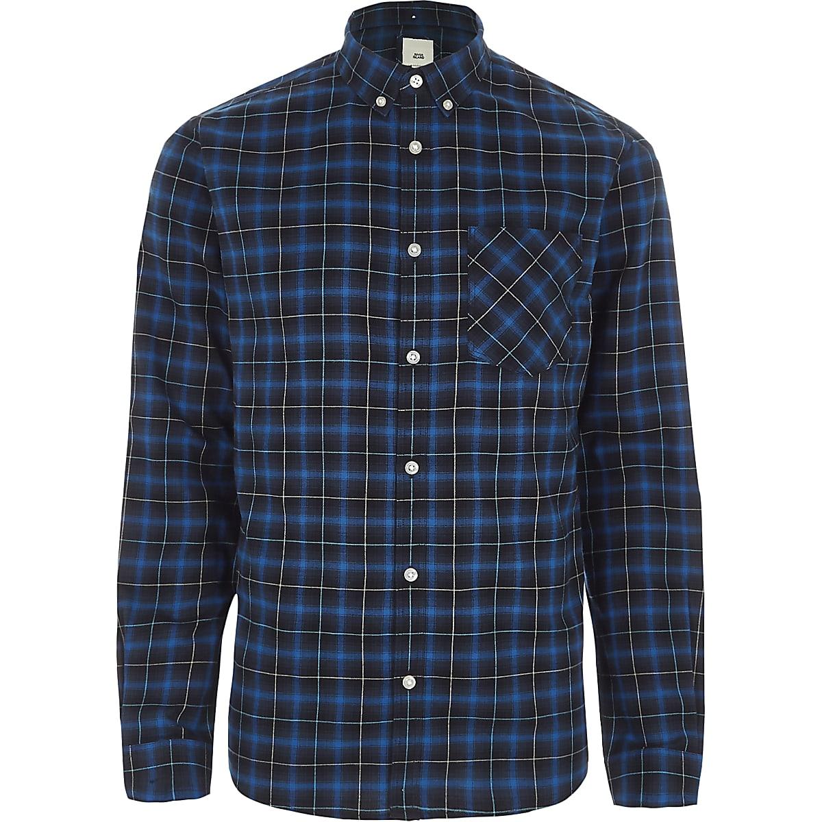 Blue check button-down collar shirt