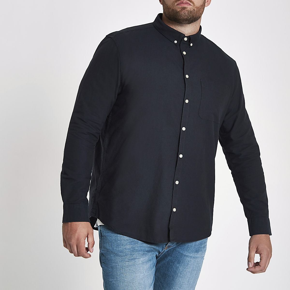 Big and Tall – Chemise oxford manches longues bleu marine