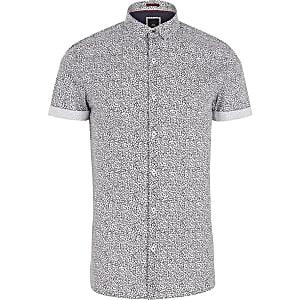 Navy ditsy floral print skinny fit shirt