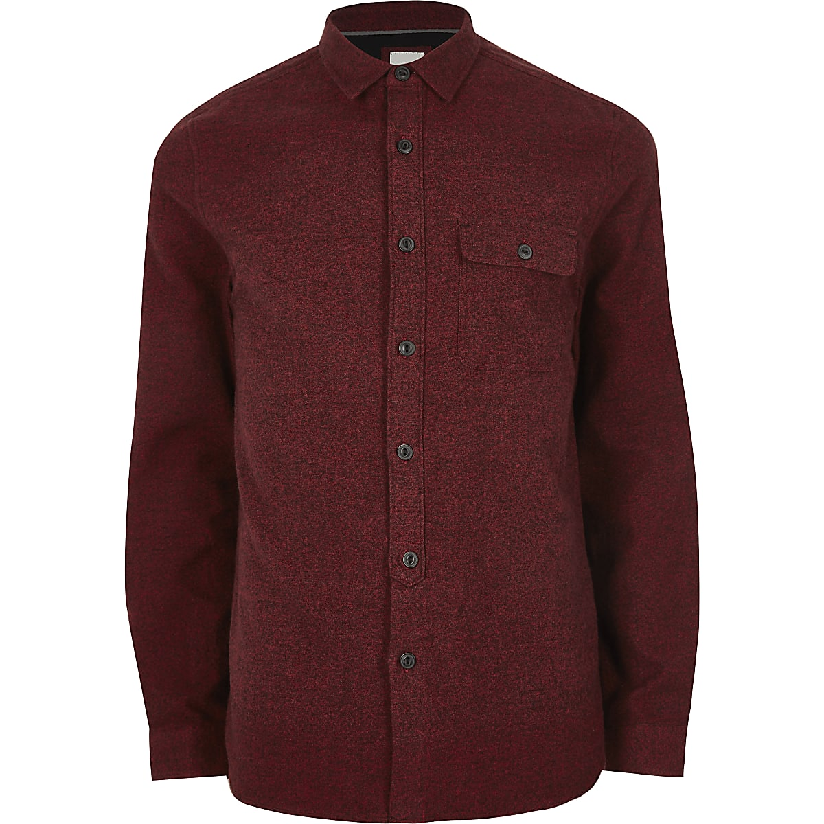 Dark red long sleeve chest pocket shirt