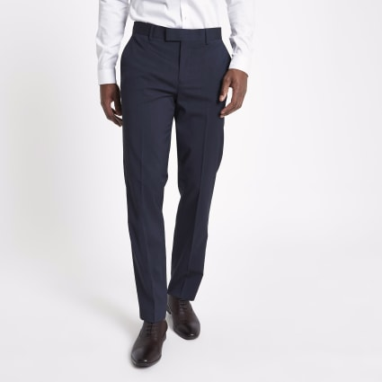 Navy tailored suit trousers