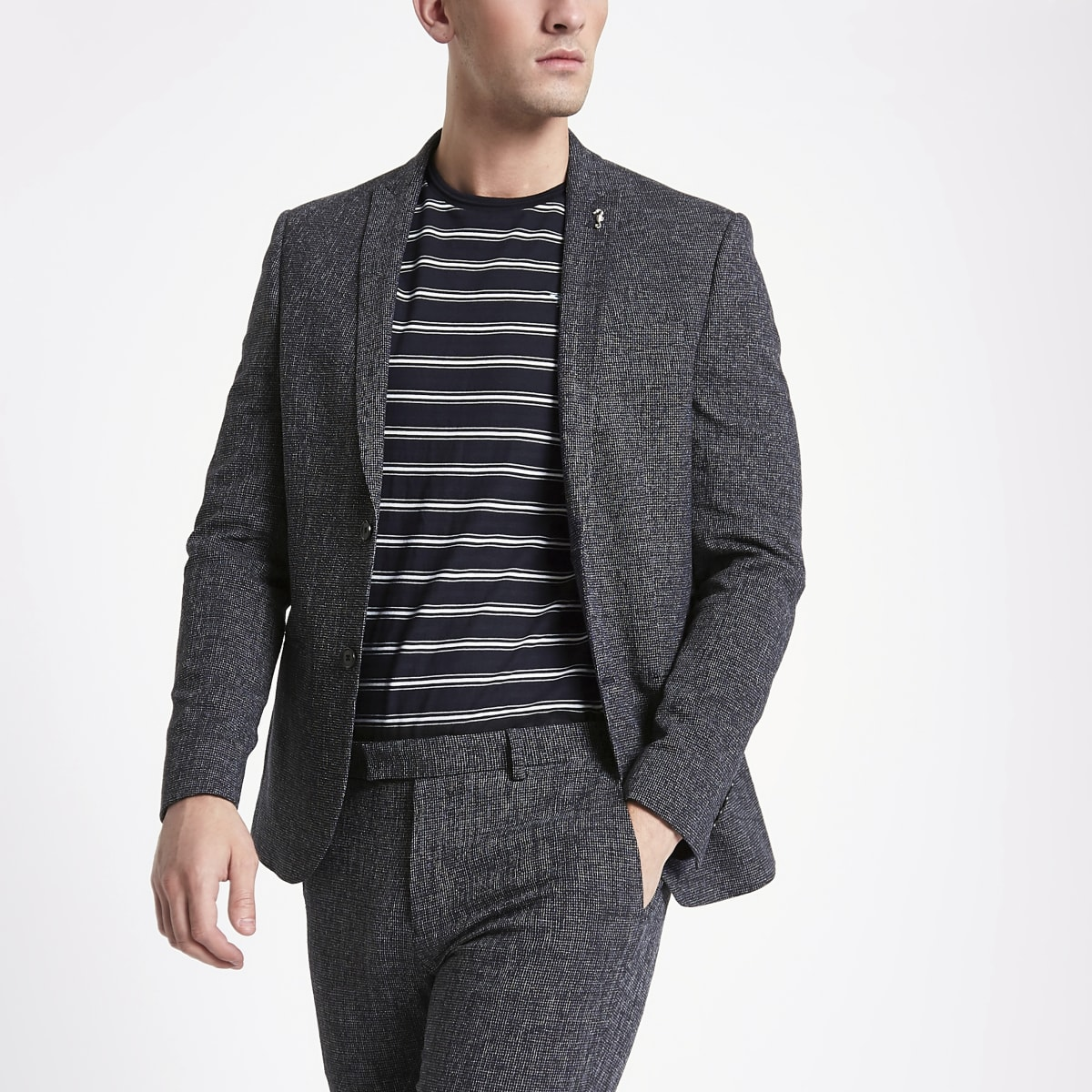 Dark blue peak lapel skinny suit jacket
