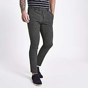 Navy textured skinny fit suit pants