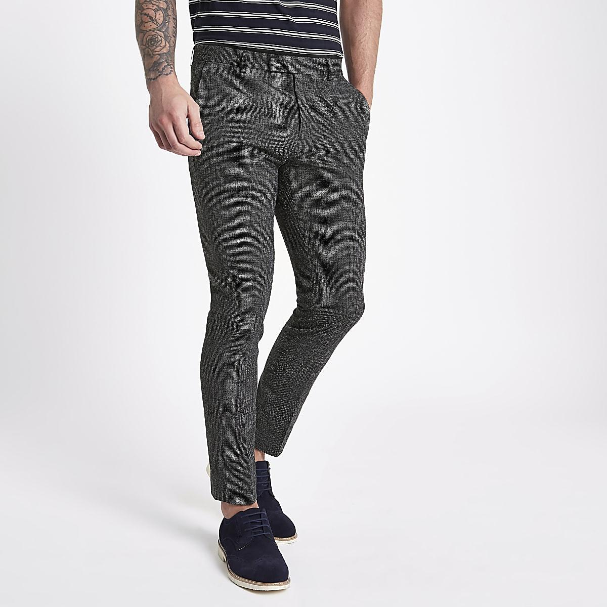 f968773b63198 Navy textured skinny fit suit trousers - Suit Trousers - Suits - men